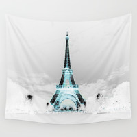 Paris Black & White + Blue Wall Tapestry by vintageby2sweet