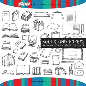 Books and Papers Doodle Clipart, Sketch, Doodled Clip Art, 44 Elements, Hand Drawn by Nedti
