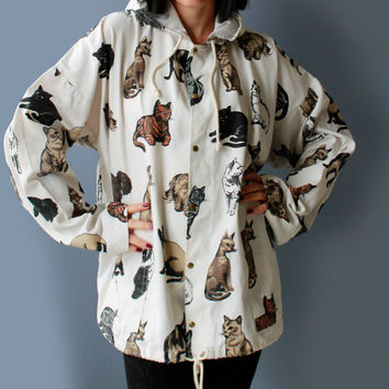 90's Cat Print Parka Soft Canvas Oversized Slouchy Jacket Kawaii Novelty Outerwear Lightweight Jacket Crazy Cat Lady Coat Women's Size XL