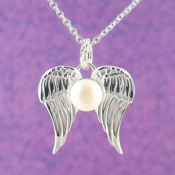 Angel Wing Pendant In Sterling Silver With Pearl