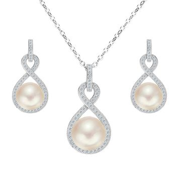 925 Sterling Silver CZ AAA Button Cream Freshwater Cultured Pearl Bridal Jewelry Necklace Earrings Set
