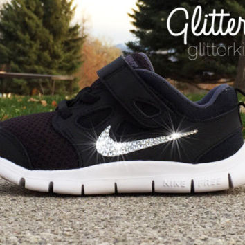 Bling Children's Nike Free 5 Glitter Kicks with Hand Customized Swarovski Crystal Rhinestone Swoosh Black White