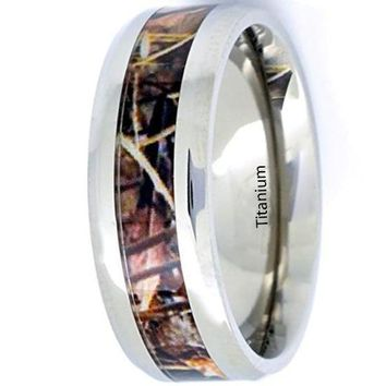 CERTIFIED 8mm Titanium Camo Ring Beveled Edge Comfort Fit