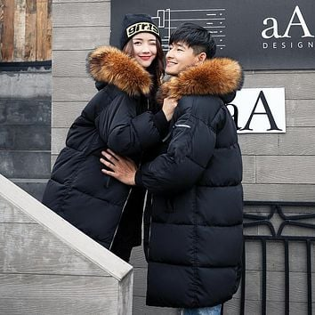 Couples Cotton Padded Coat with Fur Collar