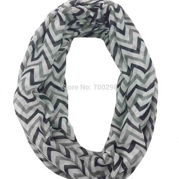 Chevron ig Zag Print Infinity Loop Scarf Snood Women's Gift Winter Accessories, Free Shipping