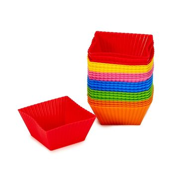 Number 1 in Gadgets Non Stick Square Silicone Cupcake Cups 24 Pack - Rainbow Bright Standard Silicone Reusable Heat Resistant Baking Cups - Cupcake Molds / Lin