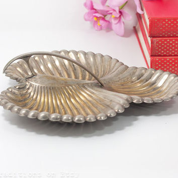 Seashell Vanity Bowl: Silver Plated Divided Vanity Tray, Vintage Trinket Bowl with a Handle, Nautical Home Decor