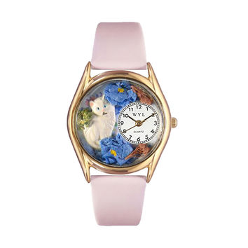 Whimsical Watches Healthcare Nurse Gift Accessories White Cat Pink Leather And Goldtone Watch