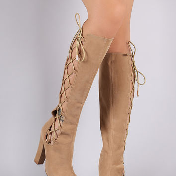 Shoe Republic LA Lace Up Knee High Boots