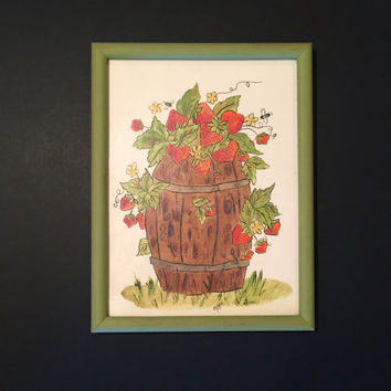 Acrylic Hand Painted Picture of Strawberries in a Barrel/ 8 X 10 Hand Painted Fruit Picture for Kitchen