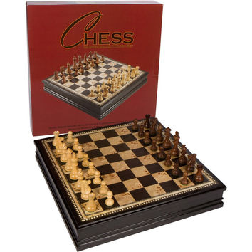 Adrienne Chess Inlaid Burl and Black Wood Board Game with Weighted Wooden Pieces and Tray  Extra Large 19 Inch Set '