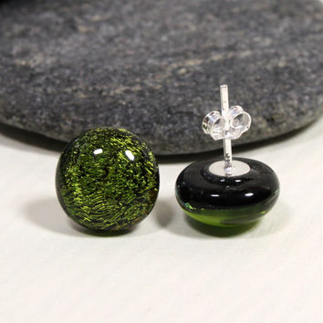 Olive Green Sparkling Dichroic Glass Stud Earrings, Sterling Silver, Fused Jewelry, Handmade in Sweden, Glass Jewelry, Olive Green glass