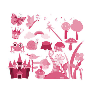 Digital Scrapbooking Kit Pretty Pink Princess Clip Art Graphics, Castle Clipart, Magic Wand Crown Frog Butterfly Snail Cottage House Trees
