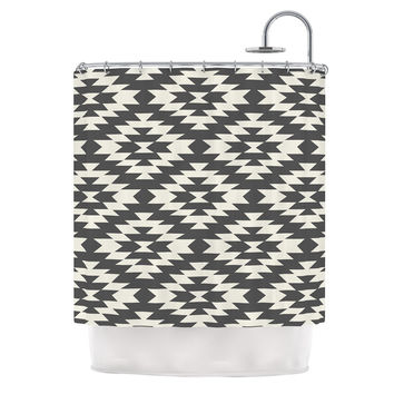 "Amanda Lane ""Southwestern Black Cream"" Tribal Geometric Shower Curtain"