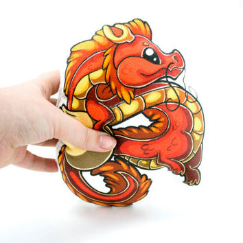 Chinese Dragon Pillow Plushie, Plush Toy, Stuffed Animal