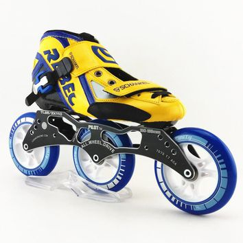 REBEC speed skating shoes Professional adult child inline roller 3wheels skates with 3 wheels speed skate