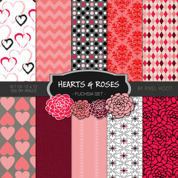 """Hearts & Roses Valentine Fuchsia 12"""" x 12"""" Digital Paper and clip art set for scrapbooking, websites, blogs and more - INSTANT DOWNLOAD"""