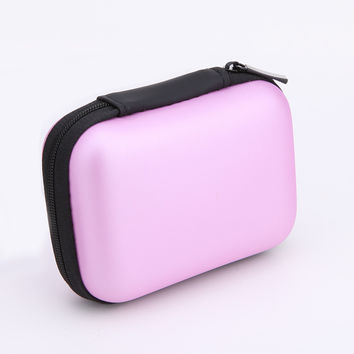 Mini Zipper Hard Headphone Case EVA Leather Storage Box Bag Protective USB Cable Organizer Portable Earbuds Pouch box pink