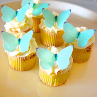 EDIBLE Butterflies Small Tiffany Blue-  Cake & Cupcake toppers - Food Accessories - PRECUT and Ready to Use