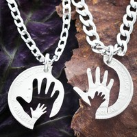 Hand in Hand Necklaces, Father and Mother Couples Necklaces, Baby Shower gift by Namecoins
