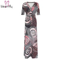 Summer casual long maxi dresses for women sexy V-neck printed plus size L-5XL