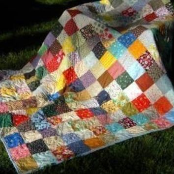 Classic Americana Patchwork--picnic size--81 X 81--made to order
