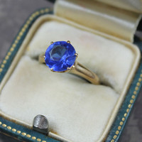 Vintage 14K Yellow Gold Bright Blue Glass Ring