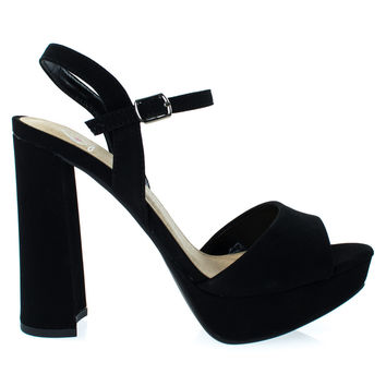 #Forest Black F-Suede by Delicious, Black Suede Women Glitter Party Sandal, Chunky Block Heel Platform Open Toe Shoes