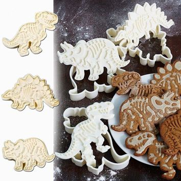 3Pcs Dinosaur Shape Biscuit Cookie Cutters Fondant Cake Decor Mold Mould Tool US
