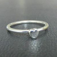 Tiny Sweet Heart Sterling Silver Stacking Ring