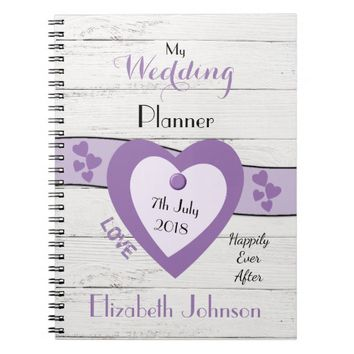 Rustic Wedding planner purple and black Spiral Notebook