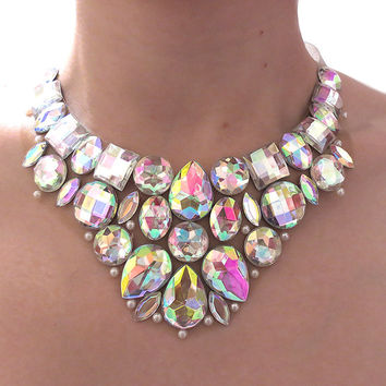 Rhinestone Bib Necklace, Crystal AB, Jeweled Bib, Aurora Borealis, Rhinestone Statement Necklace, Bridal Jewelry, Formal