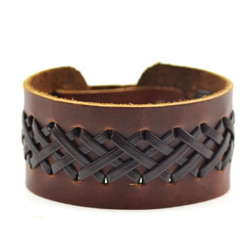 Jiayiqi Vintage Braided Genuine Leather Bracelet  Brown & Black Punk Wide Cuff Hollow Bracelet for Men Jewelry 2016
