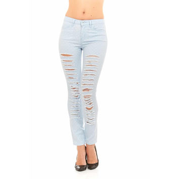 Red Jeans Women's Destroyed Ripped Polka Dot Denim Jeans