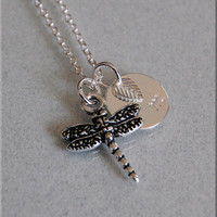 Dragonfly Charm Necklace, Personalized Necklace, Dragonfly Jewelry, Initial charm necklace, Silver Personalized Necklace, Insect Charm