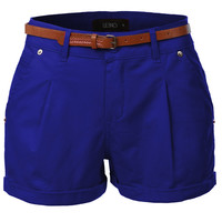 LE3NO Womens Stretchy Solid Shorts with Faux Leather Belt (CLEARANCE)