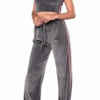 Cropped Tube Top and Velvet Pant Matching Set