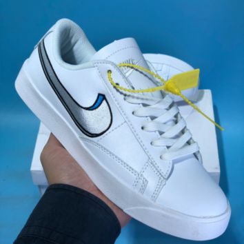 HCXX N570 Nike Wmns Tennis Classic Embroidery Two Logo Skateboard Shoes White Blue