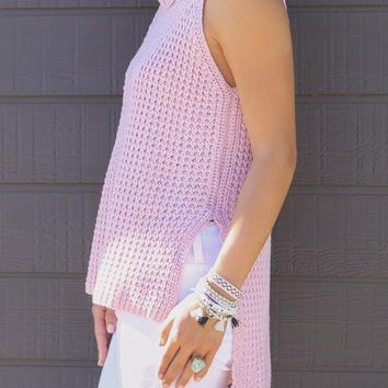 Pink Knit Sleeveless Turtleneck