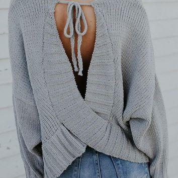 Grey Cross Tie Back Round Neck Fashion Pullover Sweater