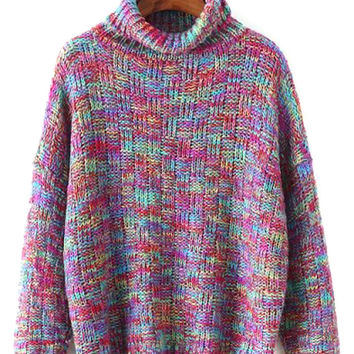 Multicolor Roll Neck Knit Jumper