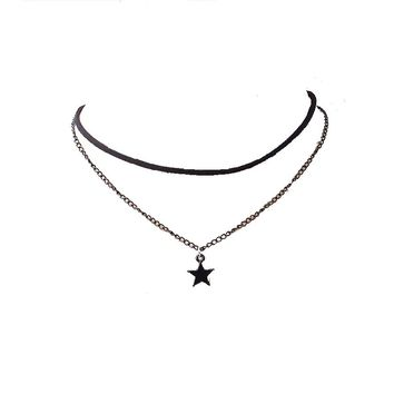 Leather Rope Star Double Chain Pendants Necklaces