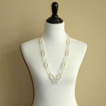 Vintage Signed Vendome Faux Pearl and Aurora Borealis Necklace, 1950s Mid Century Glass Pearls and AB Crystals, Great Gatsby