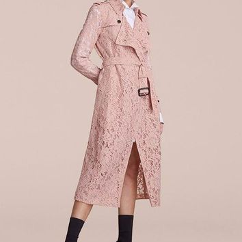 Antique Pink Lace Trench Coat