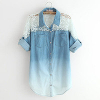 Eternal — Hollow bat sleeve lace sleeve denim shirt