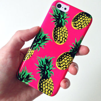 PINEAPPLE iphone 5c case, pineapple case, fruit cell case, tropical pattern iphone 5c case, 90s pop iphone 5 case, iphone 5c fruit print