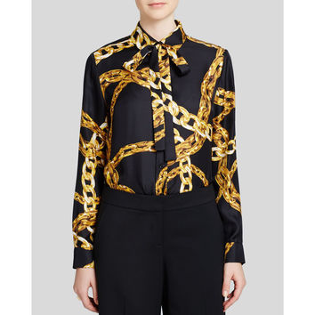 Moschino Women's Black Silk Chain Print Blouse with Tie