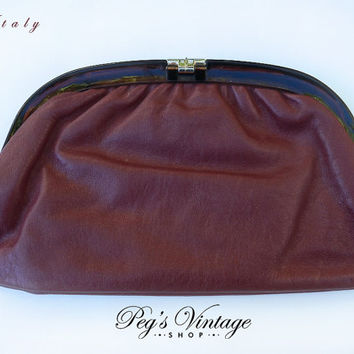 Vintage Burgundy Red Genuine Leather Clutch Purse with Tortoiseshell Lucite Frame, Made In Italy, Ladies Fashion Bags