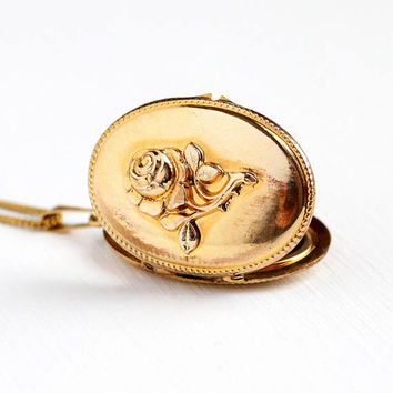 Vintage Rose Locket - Gold Plated Flower German Necklace - 1940s WWII Germany Oval Pendant Statement Floral Gold Tone Photographic Jewelry