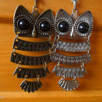 1Pc Antique Bronze/Silver Metal Big Eye Cute Smart Owl Hoot Dangle Pendant Necklace, Friendship Couple Lover Retro Woodland Animal Jewelry